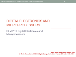 ELM3111 Digital Electronics and Microprocessors Combinational