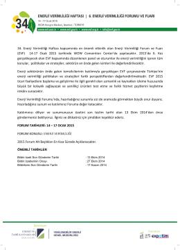 bildiri davet formu - 6. Enerji Verimliliği Forumu ve Fuarı
