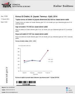 Kırmızı Et Üretimi-(III. Çeyrek: Temmuz - Eylül, 2014