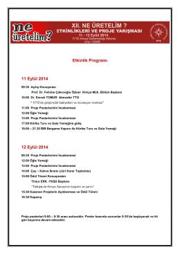 Etkinlik Programı 11 Eylül 2014 12 Eylül 2014