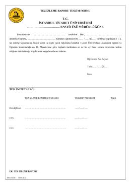 Doktora Tez İzleme Raporu Teslim Formu