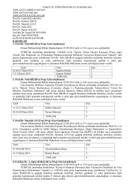 23.09.2014 tarih 406 nolu Toplu Yönetim Kurulu