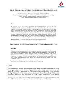 Hibrit Mühendisliklerde Eğitim: Enerji Sistemleri