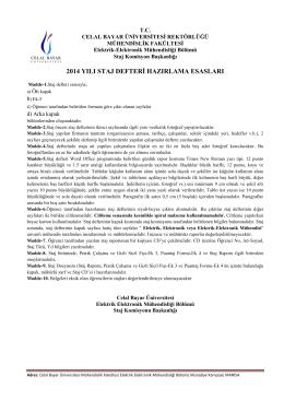 Staj Defteri Hazırlama Esasları ile İlgili Bilgiler - Elektrik
