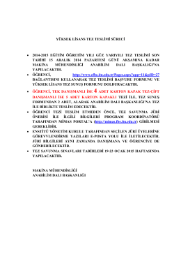 yüksek lisans tez teslimi süreci • 2014