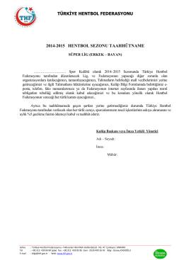 türkiye hentbol federasyonu 2014-2015 hentbol sezonu taahhütname