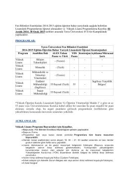 Fen Bilimleri Enstitüsüne 2014-2015 eğitim