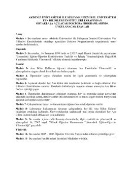 Ortak Doktora Programı - Süleyman Demirel Üniversitesi