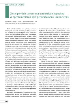Cinsel perhizin semen total antioksidan kapasitesi ve