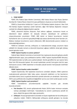 fomc ve fed kararları - Konya Ticaret Odası