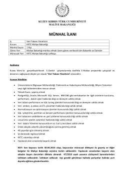 Veri Tabanı Uzmanı - KKTC Maliye Bakanlığı