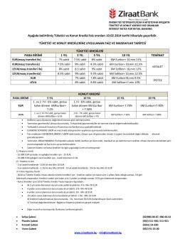 Aşağıda belirtilmiş Tüketici ve Konut Kredisi faiz oranları 10.02.2014