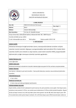 ENM 424 - Endüstri Mühendisliği Bölümü