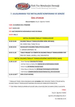 7. uluslararası toz metalurjisi konferansı ve sergisi