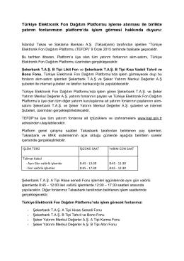 Türkiye Elektronik Fon Dağıtım Platformu işleme