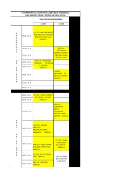 1. SINIF 2. SINIF 09.30 - 10.20 EUT 127 - MALZEME BİLGİSİ