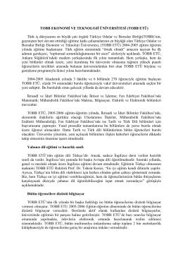 TOBB EKONOMİ VE TEKNOLOJİ ÜNİVERSİTESİ (TOBB ETÜ) Türk