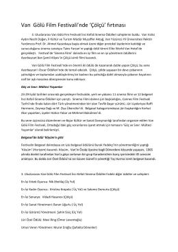 Ödül Bülteni - Van Gölü Film Festivali