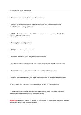 BİTİRME TEZİ ve PROJE 7 KONULARI 1. Röle sistemleri ile İşbirlikçi