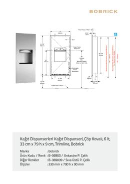 Kağıt Dispanserleri Kağıt Dispanseri, Çöp Kovalı, 6 lt, 33 cm x 79 h x