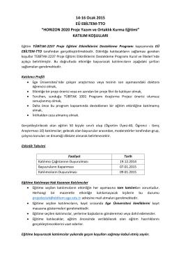 """14-16 Ocak 2015 EÜ EBİLTEM-TTO """"HORIZON 2020"""