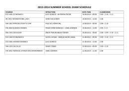 2013-2014 summer school exam schedule