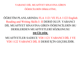 ÖĞRETİM PLANLARINDA FLA 1121 VE FLA 1122 English Reading