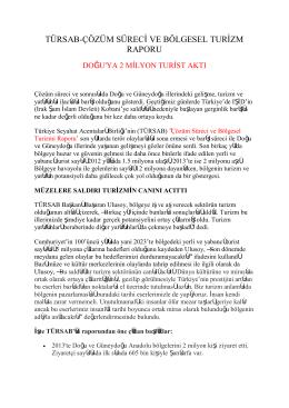 türsab-çözüm süreci ve bölgesel turizm raporu