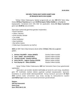 24.03.2014 420 MİLLİ TAKIM ADAY KADRO KAMPI İLANI 28 NİSAN