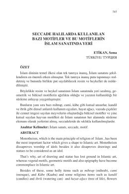 ETİKAN, Sema-SECCADE HALILARDA KULLANILAN BAZI