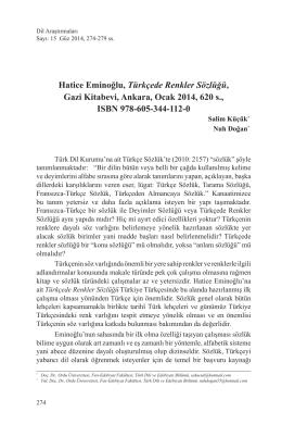 Hatice Eminoğlu, Türkçede Renkler Sözlüğü, Gazi