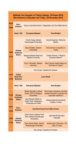 Eğitimde Yeni Arayışlar ve Türkiye Çalıştayı (24 Kasım 2014) New