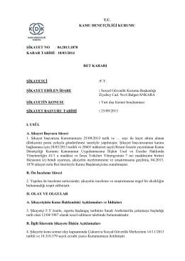 tc kamu denetçiliği kurumu şikayet no : 04.2013.1870 karar tarihi