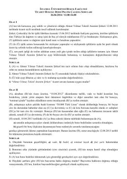 26.04.2014 – saat: 12.00 – 16.00 - İstanbul Üniversitesi | Hukuk