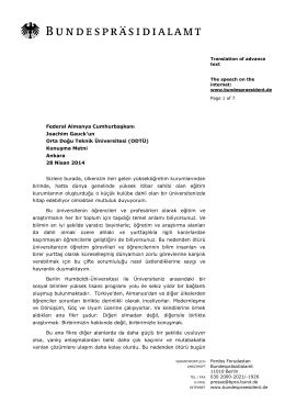 Konuşma Metni Ankara 28 Nisan 2014