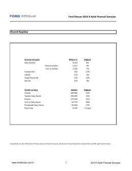 30.09.2014 Finansal Sonuç Duyurusu