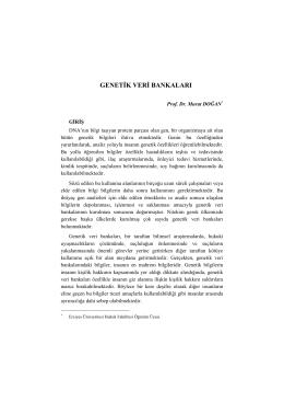 genetik veri bankaları - Hukuk Fakültesi,Melikşah Üniversitesi