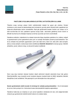 Paketleme Hatlarında Elektromekanik Silindirlerin Kullanımı
