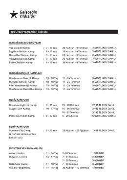 2014 Yaz Programları Takvimi