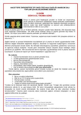 15 ekim dünya el yıkama günü - Hacettepe Üniversitesi Tıp Fakültesi