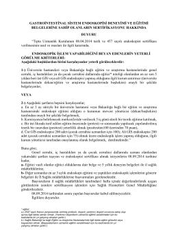 gastrointestinal sistem endoskopisi deneyimi ve eğitimi belgelerine