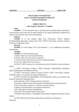 CISCO Akademi Koordinatörlüğü Kurs Yönergesi
