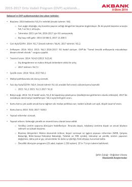 2015-2017 Orta Vadeli Program (OVP) açıklandı