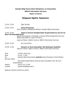 Taylor Francis EBSCO Eğitimi - 14 Ekim 2014 İstanbul