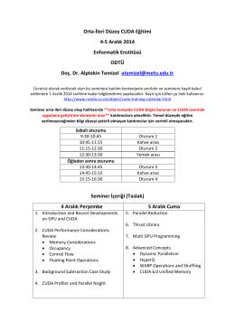 Orta-İleri Düzey CUDA Eğitimi 4-5 Aralık 2014 Enformatik