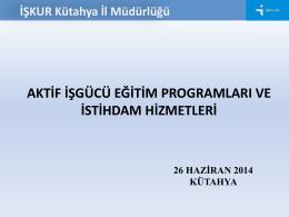 8. Aktif İşgücü Eğitim Programları ve İstihdam Hizmetleri