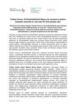 Türkiye Finans, ilk Sürdürülebilirlik Raporu ile mevduat ve katılım