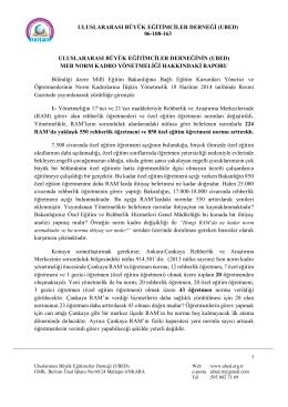 MEB Norm Kadro Yönetmeliği hakkındaki Derneğimiz raporuna