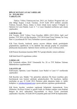 bölge kupası 2 - Türk Yelken Federasyonu