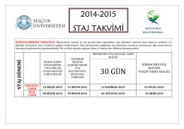 2014-2015 STAJ TAKVİMİ 30 GÜN
